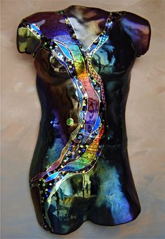 """Large Male Torso in Dark Teal"" Art Glass Sculpture Created by Karen Ehart"
