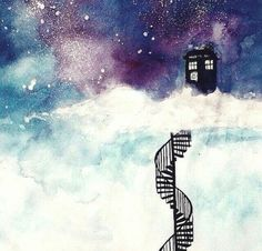 Image via We Heart It https://weheartit.com/entry/168143699 #art #background #blackandwhite #blue #cloudnine #clouds #color #colorful #colors #davidtennant #doctor #doctorwho #film #films #girlie #girls #grunge #indigo #movies #painting #punk #purple #rain #rainbow #staircase #stairs #stars #thedoctor #tv #vintage #watercolor #watercolorpainting #white #mattsmith #cloud9 #lookingatthestars #intheclouds #policecallbox