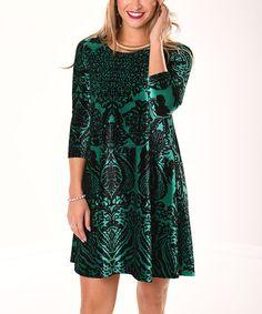 Another great find on #zulily! Black & Green Damask Velvet Shift Dress #zulilyfinds