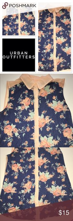 Urban outfitters Kimchi Blue sleeveless too Peach and blue very soft and chic button down sleeveless top with peach collar and floral print Urban Outfitters Tops