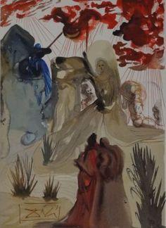 Salvador Dalí (naar) - The Divine forest  In de druk gesigneerd.Afmetingen totaal: 33 x 26.5 cm. Op BFK Rives vellum papier.In goede staat. Houtgravure uit Dante's La Divine Comédie Le Purgatoire Chant 28Uitgever: Editions D'Art Les Heures Claires Paris (Jean Estrada) 1959-1963.  EUR 25.00  Meer informatie