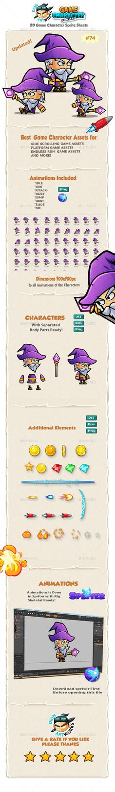 Wizard 2D Character Spritees 74 — Vector EPS #fighting #sprite sheet • Available here → https://graphicriver.net/item/wizard-2d-character-spritees-74/11923813?ref=pxcr