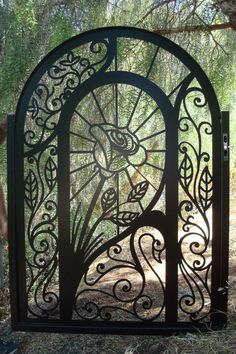 Custom iron garden gate - swans & roses...