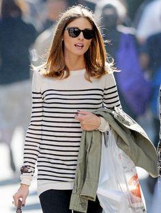 olivia palermo- casual style- candid- sunglasses- black and white striped sweater- turtoise shell sunglasses