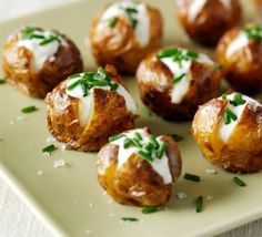 Mini jacket potatoes - add a little caviar to these and you are good to go.