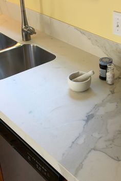 Note How Thin This Is At Edge Of Sink Would Want It Built Up To Look Like Actual Slab Porcelain Countertopsporcelain Tilekitchen