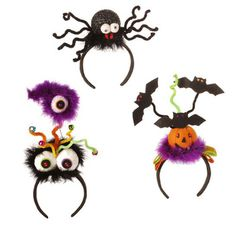 RAZ Halloween Headband Assorted  Choose from: Black Spider, Pumpkin, or Eyes Made of Polyester Measures 13.5 X 5.5, 12 X 5.5, 8 X 9  ARRIVING SUMMER 2013