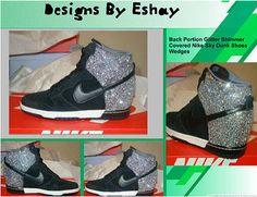 Custom Silver Sparkle Shimmer Nike Dunk Sky Hi Wedge Sneakers Glitter  Timberlands 2115a0b6f7