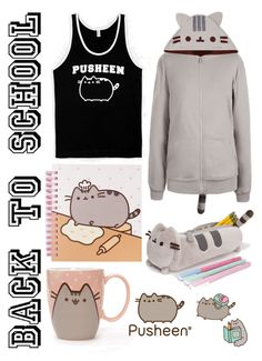 """""""#PVxPusheen"""" by pinkstars6 ❤ liked on Polyvore featuring Pusheen, contestentry and PVxPusheen"""