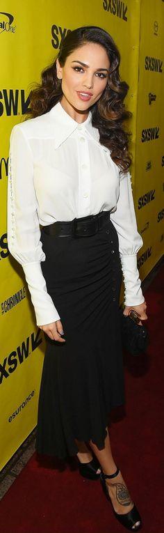 Who made  Eiza Gonzalez's platform sandals, white button shirt, and flared skirt?