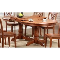 This is 42 inches wide  oval table with two self storing extentsion's that opens to 78 inches long with one extension, and 90 inches long with the second extension. Table is shown all in a cinnamon finish