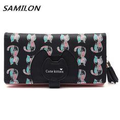 2016 New Women Cartoon Lovely Cat Prints Wallet Women Luxury Brand Tassel Long Purses Female Cute Leather Zipper Wallet Cards
