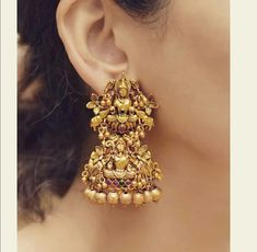 Beautiful Temple Earring Design Indian Goddess Statue   To Buy - 9586221777  #earring #jewellery #abdesigns