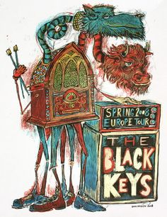 "The Black Keys screenprint by Dan Grzeca. ""Jetsah."""