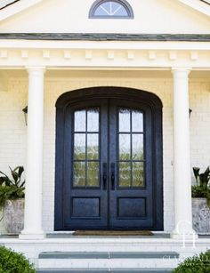 Looking for fully custom traditional door ideas? Contact us today to chat about your dream look—we can make your sketch become a reality. Traditional Doors, Traditional Design, Clark Hall, Contemporary Design, Modern Design, Double Front Entry Doors, Steel Doors, Types Of Houses, Curb Appeal