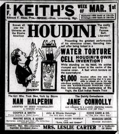 This ad from a 1915 Rhode Island newspaper not only nicely features Houdini's Needles and the Water Torture Cell, but there's something else here that escaped my notice until now.