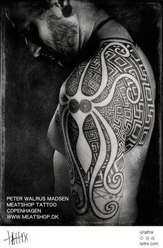 Peter Madsen Meatshop Tattoo - Squid Shoulder Design