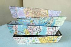 Carolina Cottages decoupage trays Decorating with Maps