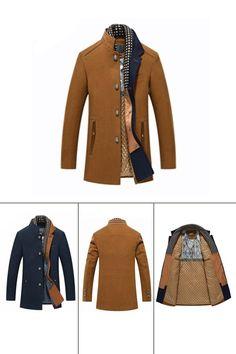 5d96a689492 Ericdress Plain Stand Collar Patchwork Thick Mens Winter Wool Coat winter  coat wool coat mens coat