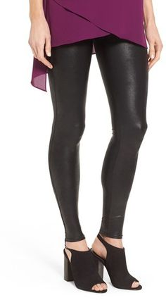 80421947fa8569 SPANX ® Faux Leather Leggings - A slick finish adds extra edge to stretchy  faux-leather leggings flattered by a subtle control top.