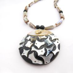 Resin & Mother Of Pearl Pendant Necklace With by MoonlightShimmer, $25.00