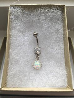 Opal Sun Belly Button Ring. Silver Belly Ring. P1. #BodyJewelry