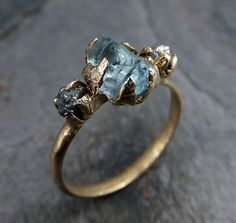 Raw Uncut Aquamarine Diamond Gold Ring by byAngeline