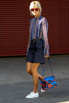 striped blouse, mini skirt, sneakers + statement bag