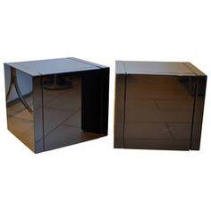 Roche Bobois Black Lacquer Cube Nightstands, 1980s