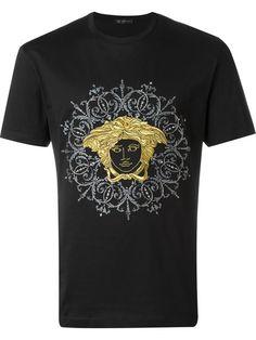 Versace Embroidered Medusa T-shirt Versace T Shirt, Versace Men, Nike Clothes Mens, Nike Outfits, Boys Shirts, Swagg, Printed Shirts, Shirt Designs, Medusa