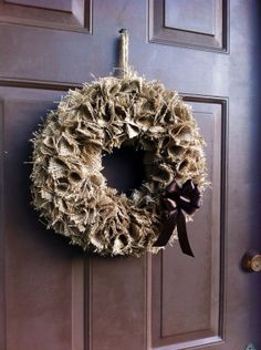 Burlap Fall Wreath for Front Door Wall or Mantle by WeHaveWreaths.  www.etsy.com/shop/WeHaveWreaths