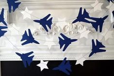 Air force party decorations, airplane and stars, airplane garland, airplane banner, Air force retirement party decor air force graduation Disney Party Games, Kitty Party Games, Cat Party, Military Retirement Parties, Military Party, Retirement Ideas, Military Decorations, Retirement Party Decorations, Luftwaffe