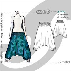Harem Romper Pants/ Digital PDF Sewing Patterns for Women/ mc2-patterns/ size S-M-L-XL mc2-9001