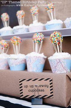 Balloon / UP themed cupcakes via Kara's Party Ideas | KarasPartyIdeas.com #up #movie #party #cupcakes #toppers #balloon #ideas #diy
