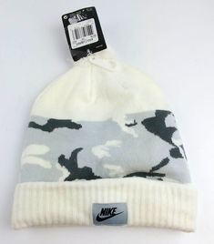 2234ca0aaaf Nike Camo Beanie with Pom-Pom White Base