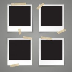 Realistic vector template empty photo frame with adhesive tape on grey background Premium Vector Polaroid Frame Png, Polaroid Picture Frame, Polaroid Pictures, Picture Frames, Picture Templates, Photo Collage Template, Overlays Instagram, Instagram Background, Framed Wallpaper