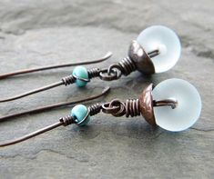 Blue Copper Earrings Etched Light Blue Glass Lampwork Wire Wrapped Long Dangle Artisan Jewelry