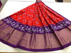Indian Handloom Sarees and Silks Ikkat Saree, Handloom Saree, Half Saree Lehenga, Sari, Indian Skirt, Pure Silk Sarees, Tie Dye Skirt, Pure Products, Skirts