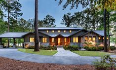 This relaxing lake house with a rustic aesthetic was designed by Brickmoon Design, nestled on Toledo Bend Lake, in Hemphill, Texas. Rustic Lake Houses, Rustic Homes, Toledo Bend, Cabin Style Homes, Woodland, Architecture Design, Texas, Exterior, Cabin Ideas