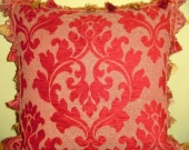 Traditional Throw Pillow in Red Damask Chenille with Robert Allen Tassel Trim Robert Allen, Damask, Decorative Pillows, Tassel, Throw Pillows, Unique Jewelry, Handmade Gifts, Red