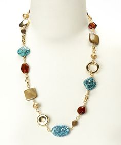 Another great find on #zulily! Turquoise & Gold Necklace #zulilyfinds
