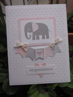 Baby Card • using polka dot embossing folder, banners and elephant. Easy to change colours as req'd