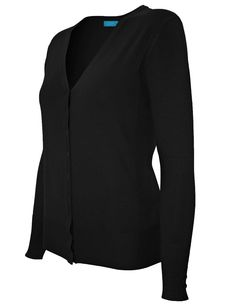 Cielo Women's V Neck Suede Elbow Patch Cardigan Sweater Black SW575