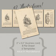 Alice In Wonderland Ephemera Digital Business Cards Templates Print At Home Designed For Use With MS Word Pages Indesign Photoshop