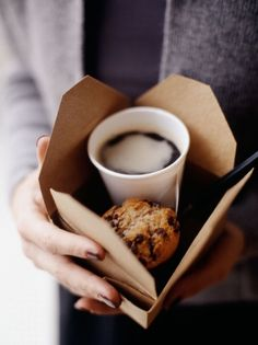 To Go. This is a cute way to serve coffee and a muffin to go.