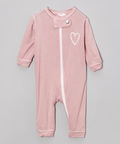 Small Plum Light Pink Heart Union Organic Playsuit - Infant by Small Plum #zulily #zulilyfinds