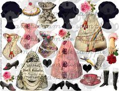 Pink Paper Dolls Digital Collage Sheet File ART TEA LiFE clip art decoupage journal scrapbook doll parts tags corset rose tea silhouette