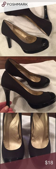"Tahari ""laura"" pump with patent leather  cap toe. Tahari ""Laura"" heel with patent leather cap toe. Excellent condition. Size 6.  3 1/2 inch heel. Tahari Shoes Heels"