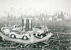 """Laurie Lipton, """"Round and Round"""", Charcoal & Pencil on Paper, 2012."""