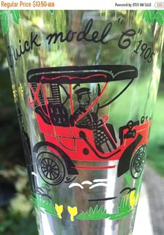 SALE Buick Model C 1905 Libbey Pilsner Glass by TreasureofMemories